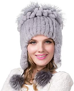 Guomao Rabbit Fur Hat Female Winter Knitted Hat Fashion Wild Grass Ear Cap Wide Strip Fox Hand-Stitched Side Flower Hat (Color : Gray)