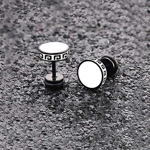 TTYJWDWY-Pendientes de botón Vintage de Forma Redonda para Hombres, Mujeres, Unisex, de Moda, de Acero de Titanio, para Fiestas, Color Blanco