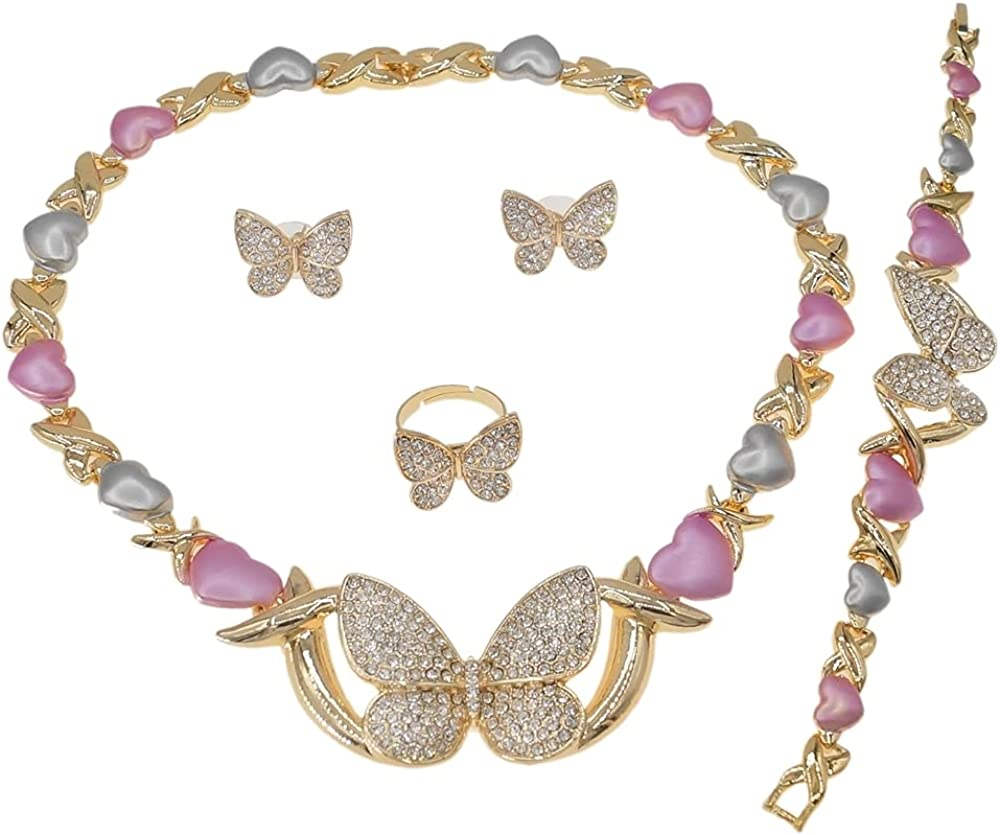 Women's Hugs & Kisses XOXO Real Gold Plated Layered 4 Pieces Necklace Set Multi Color Shiny Real Looking Diamond Butterfly Pedant Necklace Includes Necklace Bracelet Ring Earrings