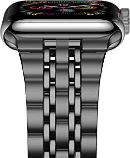 iiteeology Compatible with Apple Watch Band Series 5/4 44mm Series 3/2/1 42mm, Upgraded Version Stainless Steel Link iWatch Band for Women Men - Space Gray