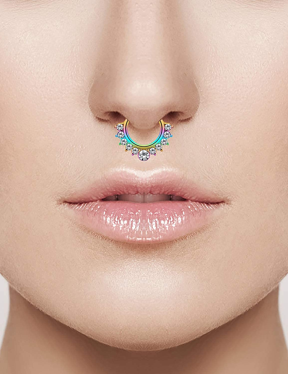 SCERRING Fake Septum Nose Hoop Rings Clear CZ Faux Non Pierced Clicker Hanger Nose Septum Ring Clip On Body Piercing Jewelry 20PCS