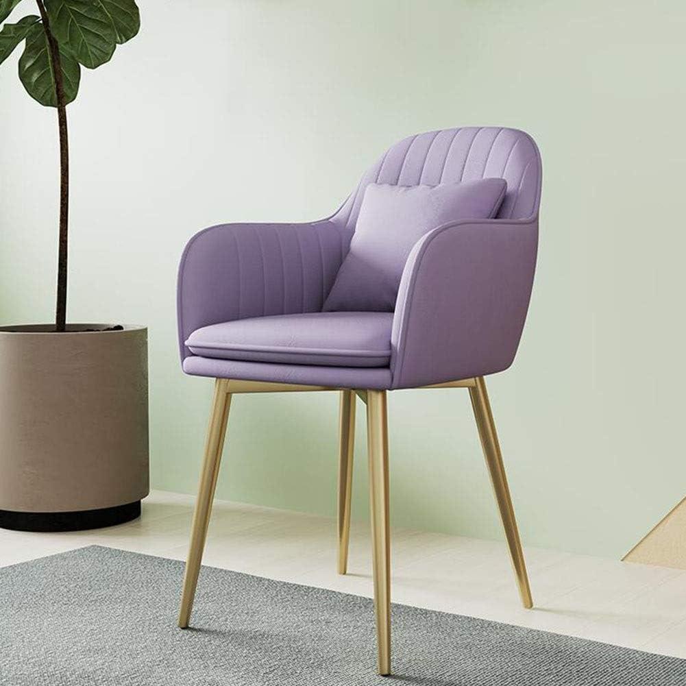 Dall Chaises De Salle À Manger Design Moderne Fauteuil Chaise De Table Jambes en Métal Plaqué Or Confortable Coussin (Color : Blue 2) Purple
