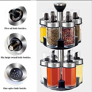 Accueil Rotating Spice Jars, Organisateur de cuisine fonctionnelle rangement, cuisine plateau Organisateur avec 12 Assaiso...