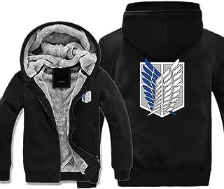 Boys Men's Fleece Thick Hoodies Attack On Titan Cosplay Corps Zip Jacket