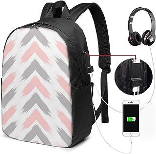 Lawenp Mochila para computadora portátil de Viaje con Pinceladas de Flecha Gris Rosa Pastel Moderna, antirrobo para Negocios, Delgada, Duradera con Puerto de Carga USB, Mochila para computadora de l