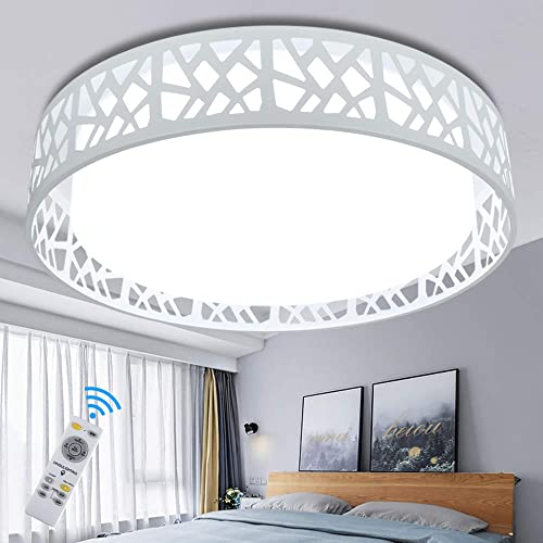 """2021 DLLT outlet sale 35W Modern Dimmable Ceiling online sale Light with Remote, 18.5"""" LED Round Flush Mount Lighting Fixture for Living Room, Bedroom, Kitchen, Dining Room, Timing, 3000K-6000K, 3-Light Color Changeable(White) online sale"""