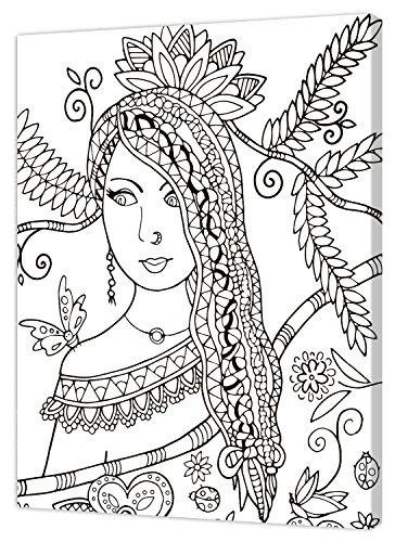 Pintcolor 7821.0 châssis avec Toile imprimée à colorier, Bois de Sapin, Blanc/Noir, 40 x 50 x 3,5 cm