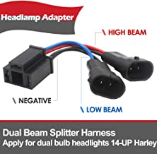 Belt&Road Dual Beam Headlight Splitter Harness Adapter For Harley Road Glide Street Glide,H4 Splitter Harness for Dual Beam Headlights H4 to H9/H11