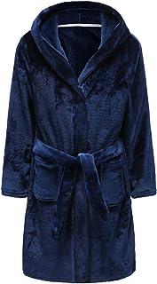 Girls Bathrobes Toddler Kids Hooded Robes Flannel Sleepwear for Kids Girls (Navy, 11-12 Years)