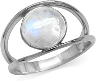Silvershake Natural Moonstone White Gold Plated 925 Sterling Silver Solitaire Ring