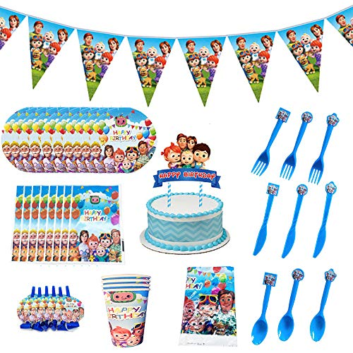 Cocomelons Birthday Party Supplies for Kids, Party Decorations Included Paper Plates, Cups, Napkins, Tablecloth, Pennant, Cake Topper, Gift Bags, Blowouts,Invitation Cards (149pcs)