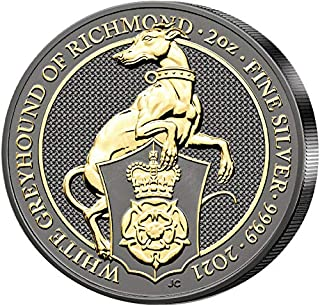 WHITE GREYHOUND OF RICHMOND Coloured 2 Oz Silver Coin 5£ United Kingdom 2021