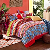 Couturebridal Boho Chic Bedding Sets King Size Red Blue Indian Mandala Floral Stripe Printed Reversible Bohemian Duvet Cover 3pcs Premium 120g/㎡ Microfiber Quilt Covers with Pillowcases