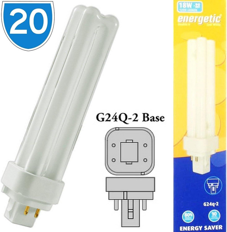 20x Energetic Marken energiesparende G24q-218W 4pin Cool Weiß 4200K PL Leuchtmittel Kompaktleuchtstofflampen 4P 84018Watt