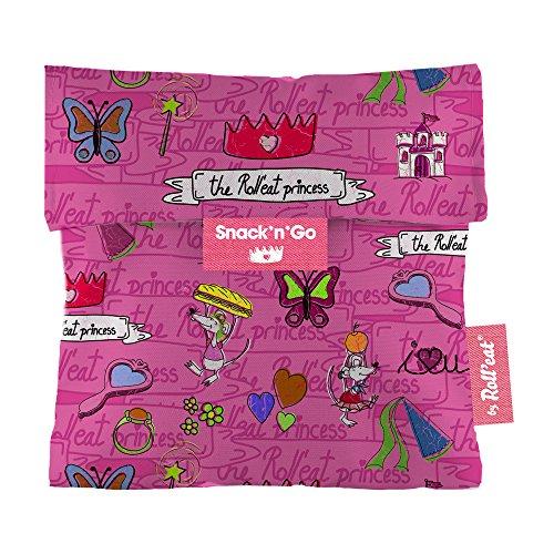 Roll'eat – Snack'n'Go Kinder – Snackbeutel für Mädchen | wiederverwendbarer, ökologische Lunchbox, BPA frei, leicht zu reinigender Snackbag - Motiv: Prinzessinen mit Mäusen, Farbe: pink, 16 x 16cm