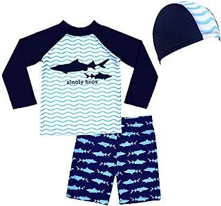Traje de Baño para Niños de Dos Piezas con un Gorro de Natación de Surf Playa UV Protection Bath Set