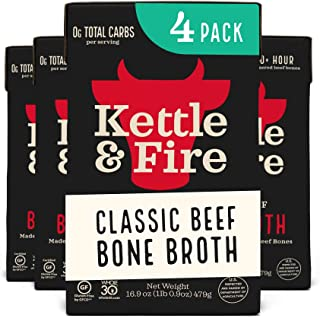Beef Bone Broth Soup by Kettle and Fire, Pack of 4, Keto Diet, Paleo Friendly, Whole 30 Approved, Gluten Free, with Collag...