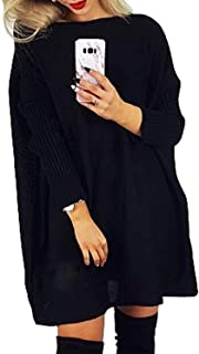 CILKOO Womens Sweaters Winter Warm Oversized Off Shoulder Chunky Cable Knitted Long Tunic Pullover Sweater Dresses Black US 8 10