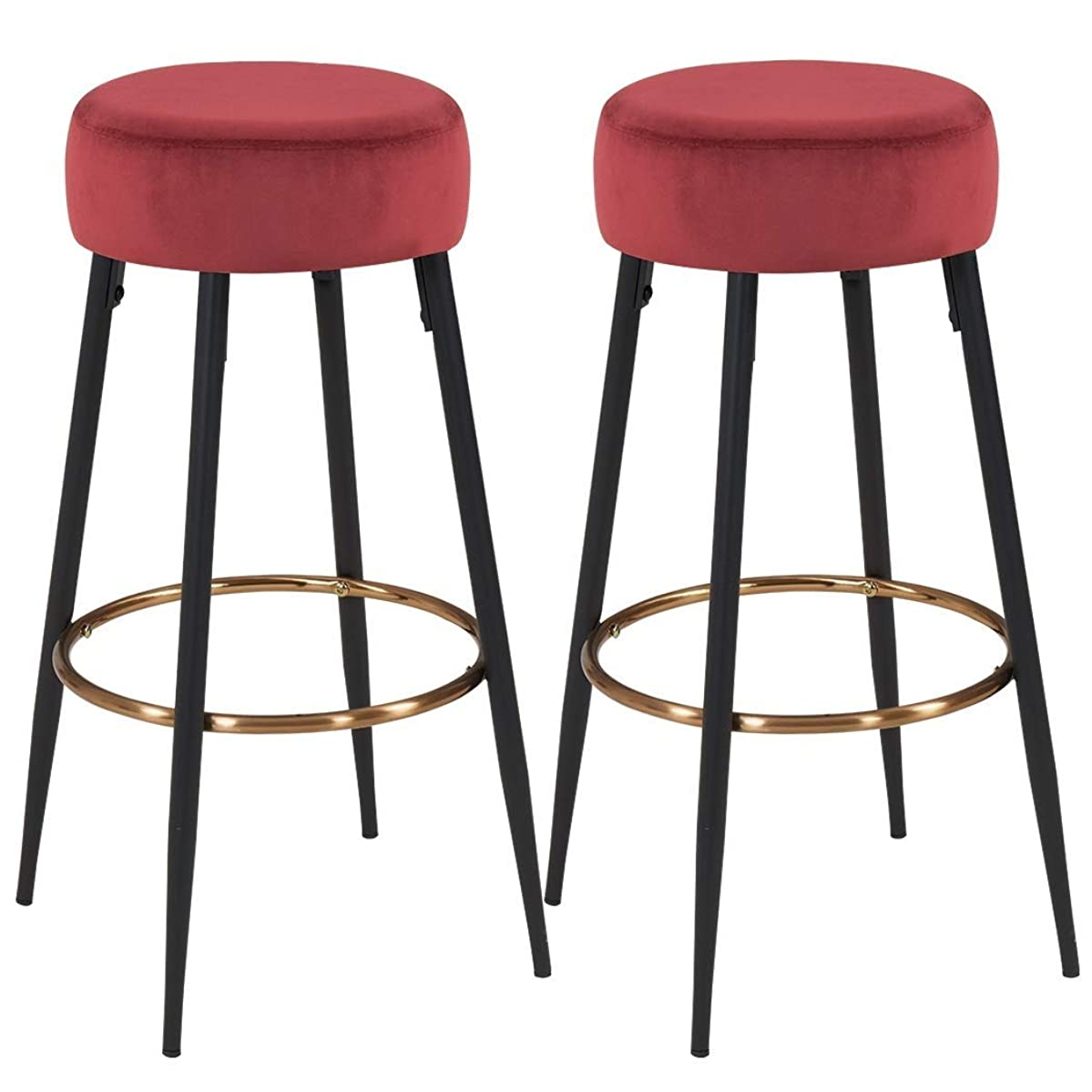 QIDI-Home Decoration Set of 2 Bar Stools Round Fabric Velvet Teal Cyan Green Barstool Metal Legs Thick Upholstery Seat Height 80 cm (Color : Red)