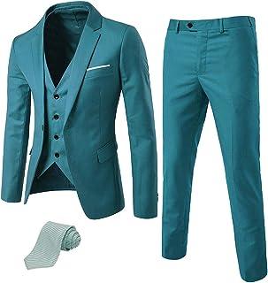 1ef67ca38840a6 MY'S Men's 3 Piece Suit Blazer Slim Fit One Button Notch Lapel Dress  Business Wedding Party