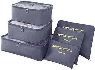 Vicloon bagage-organizer, 6-in-1 set koffer organizer bevat 3 x pakkubussen en 3 x opbergzakken, reistassen voor droge kle...