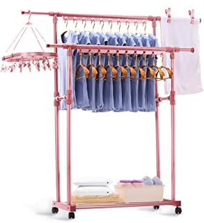 CONBOLA Heavy Duty Clothes Rolling Rack, Adjustable Double Rods Garment Hanging Stand with Shelves on Wheels for Drying Hanging Clothes Aluminum Alloy (Pink)