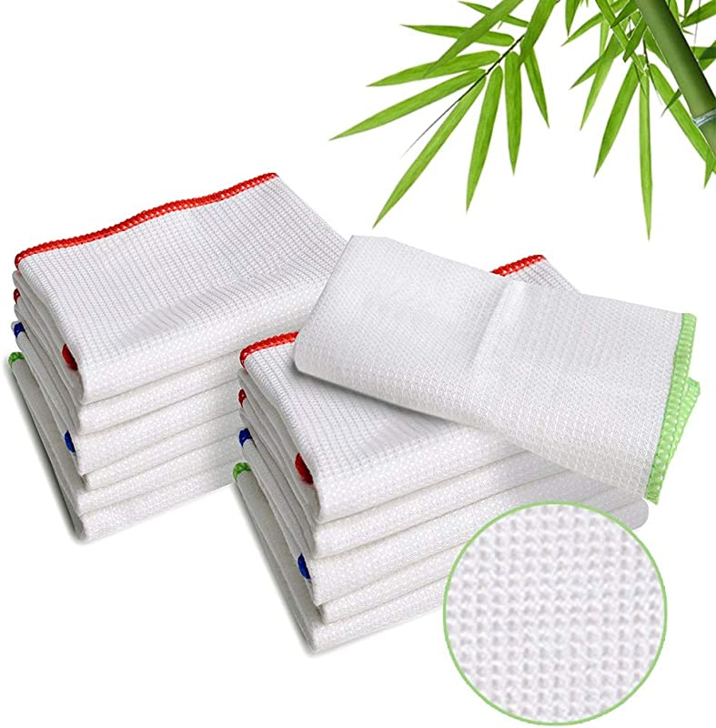 LUCKISS 100 Bamboo Dish Cloths Cleaning Cloth And Dishcloths Sets Super Absorbent Towels Soft Durable And Eco Friendly Cleaning Rags 12 X 12 Inch 12 Pack