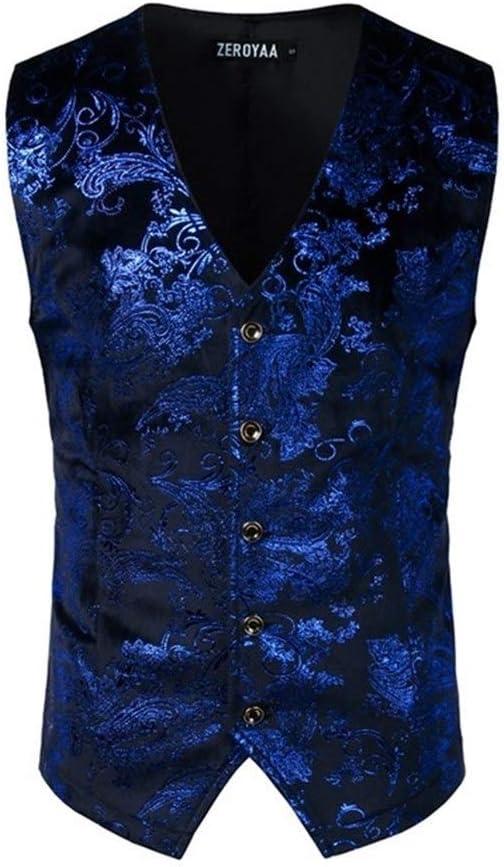 QWERBAM Be super welcome Mens Bronzing Attention brand Vest Single Breasted V-Neck V Wedding Suit