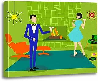 TORASS Canvas Wall Art Print Retro Mid Century Modern Evening Housewarming Party Vinyl Artwork for Home Decor 16