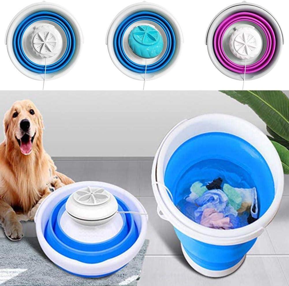 Mini lavadora plegable de ropa portátil, lavadora de turbina ultrasónica plegable ligera Lavadora de viaje con alimentación por USB