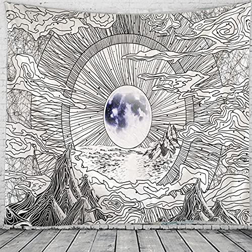 Tapiz de sol psicodélico Mandala indio Tapiz de encaje Hippie Montaje en pared Decoración bohemia Tapiz de brujería psicodélica A5 100x150cm