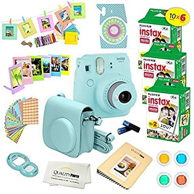 Fujifilm Instax Mini 9 Instant Camera ICE BLUE w/ Fujifilm Instax Mini 9 Instant Films (60 Pack) + A14 Pc Deluxe Bundle For Fujifilm Instax Mini 9 Camera