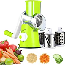 Vegetable Mandoline Slicer Vegetable Fruit Cutter Cheese Shredder Rotary Drum Grater with 3 Stainless Steel Rotary Blades and Suction Cup Feet Green