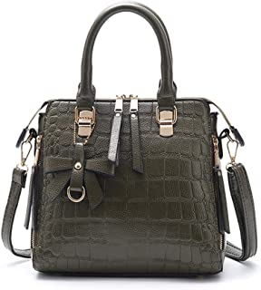 Portable Women's Fashion Zipper Solid Color PU (Polyurethane) Crocodile Slung Shoulder Bag Leather Handbag Crossbody Bag (Color : Green)