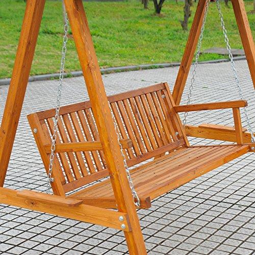 Outsunny Hollywoodschaukel Gartenschaukel Schaukelbank Schaukel 3-Sitzer Lärche - 6