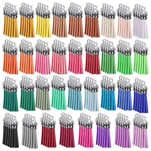 Borlas de ante, de 40 mm, 35 colores, para llavero, artesanía, joyería, suministro para manualidades, 140 unidades