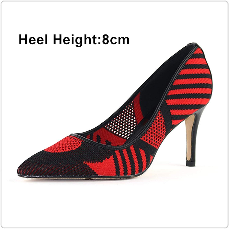 ZXCVB& Woman High Heels Pumps Spring Single Dress shoes Lady Thin Heels Hollow Female