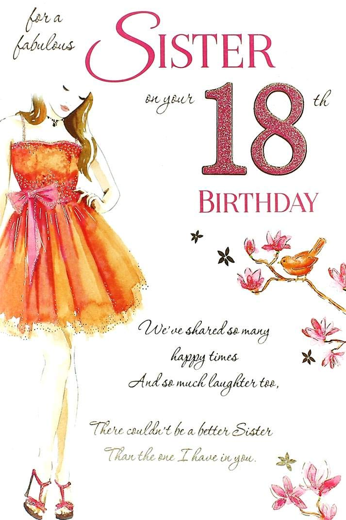 Sister 18th Birthday Card Amazon Co Uk Kitchen Home