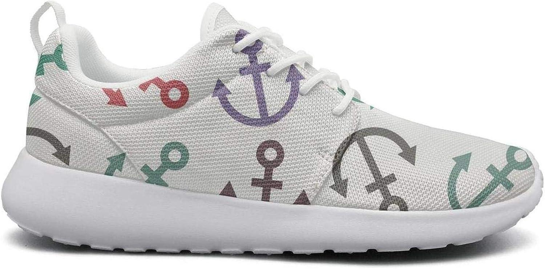 Gjsonmv Womens Nautical Anchor mesh Comfortable Lightweight Basketball Sneakers
