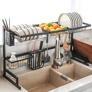 GOHHK Égouttoir à Vaisselle au-Dessus de l'évier Cuisine, étagère à Vaisselle en Acier Inoxydable, comptoir de Rangement, ...