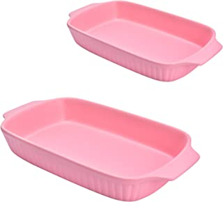 Aliyaduo Pink Ceramic Bakeware Dish Set of 2Pcs Retangle Plate Baking Dish Set Casserole Dish Set Lasagna Pan Baking Dishe...