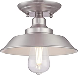 Westinghouse Lighting 6370000 Iron Hill 9-Inch, One-Light Indoor Semi Flush Mount Ceiling Light, Brushed Nickel Finish