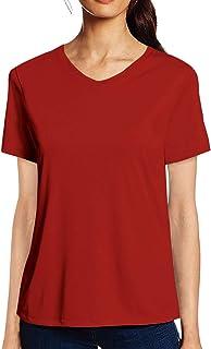 Pooplu Womens Plain Cotton Printed V Neck Half Sleeves Multicolour t-Shirt