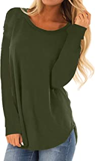 MISSLOOK Women's Long Sleeve Shirts Basic Tee Tops High Low Loose Crew Neck Casual Tunic