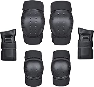 JMcall Outdoor Child and Adult knee Brace And Elbow Brace Protection Equipment Set(Color:Black & Material:Polyester)