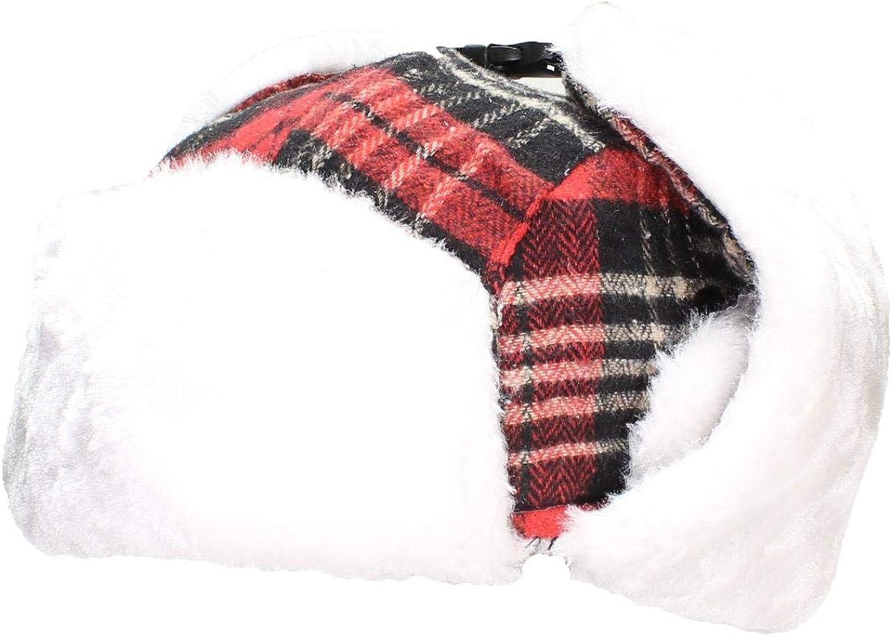 Best Winter Hats Big Kids Quality Madras Plaid Russian//Trapper Hat W//Faux Fur One Size