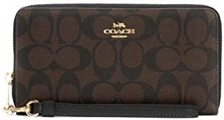 COACH Wipens Long Zip Around Wallet in Signature Canvas with Strap (قهوه ای - مشکی)