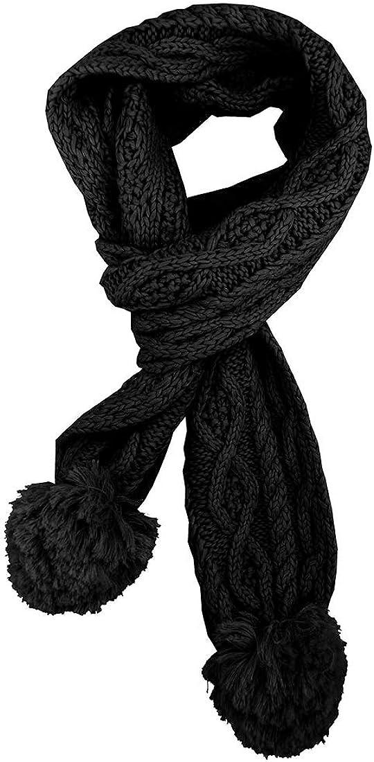Irish Aran Knit Ladies Pom Pom Warm Scarf - Black