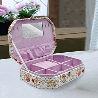 Kookee™ Jewelry Organizer Box with Mirror, 6 Section - Yellow Multi Butterfly Print