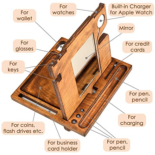 Wooden Docking Station for Men iPhone Holder Nightstand Men Wood Organizer Cell Phone Stand Desk Mirror for Men him from Wife for dad Husband Gifts Mens Organizer Smart Watch Dock Stand